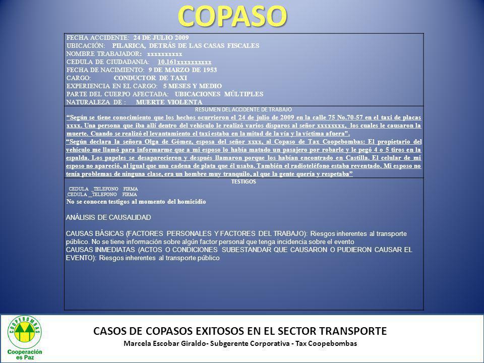 COPASO CASOS DE COPASOS EXITOSOS EN EL SECTOR TRANSPORTE