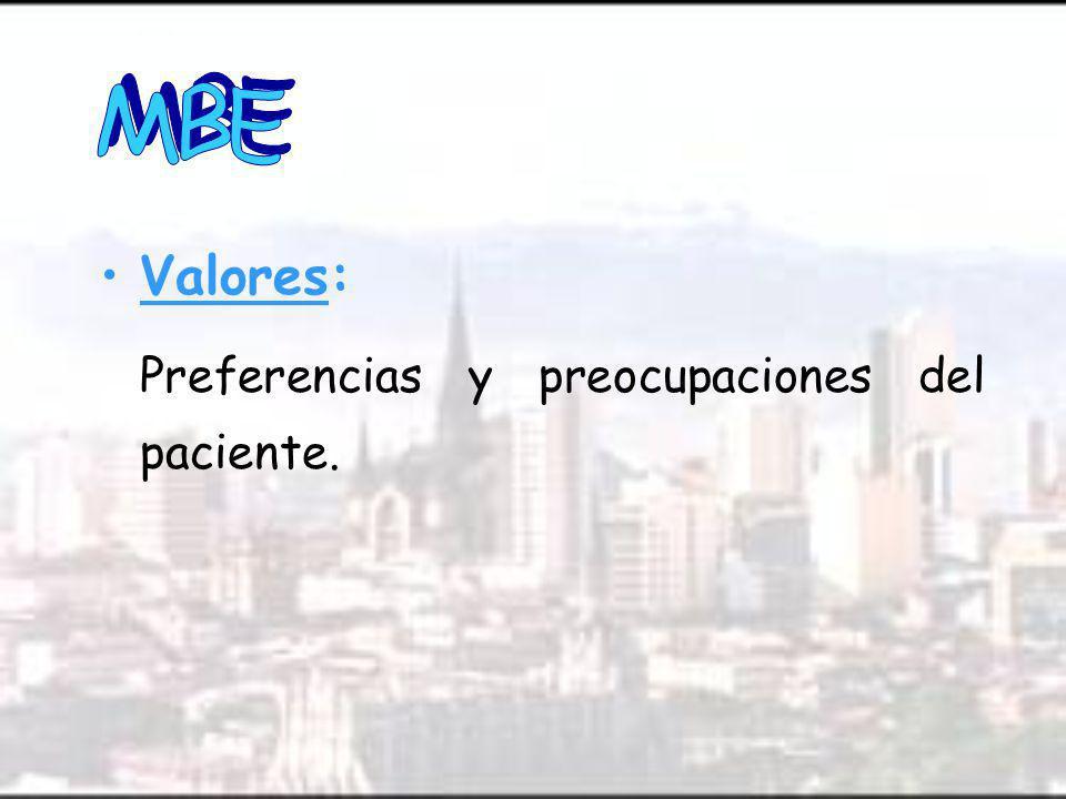 MBE Valores: Preferencias y preocupaciones del paciente.