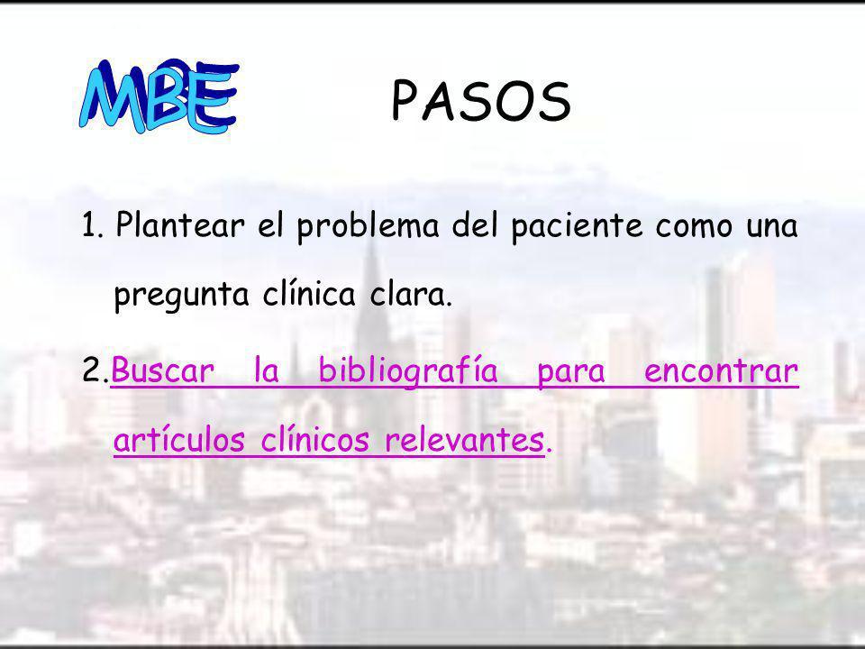MBE PASOS. 1. Plantear el problema del paciente como una pregunta clínica clara.