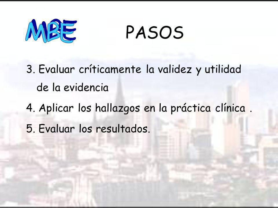 MBE PASOS. 3. Evaluar críticamente la validez y utilidad de la evidencia. 4. Aplicar los hallazgos en la práctica clínica .