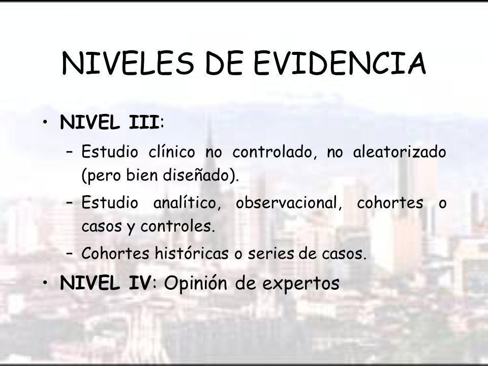 NIVELES DE EVIDENCIA NIVEL III: NIVEL IV: Opinión de expertos