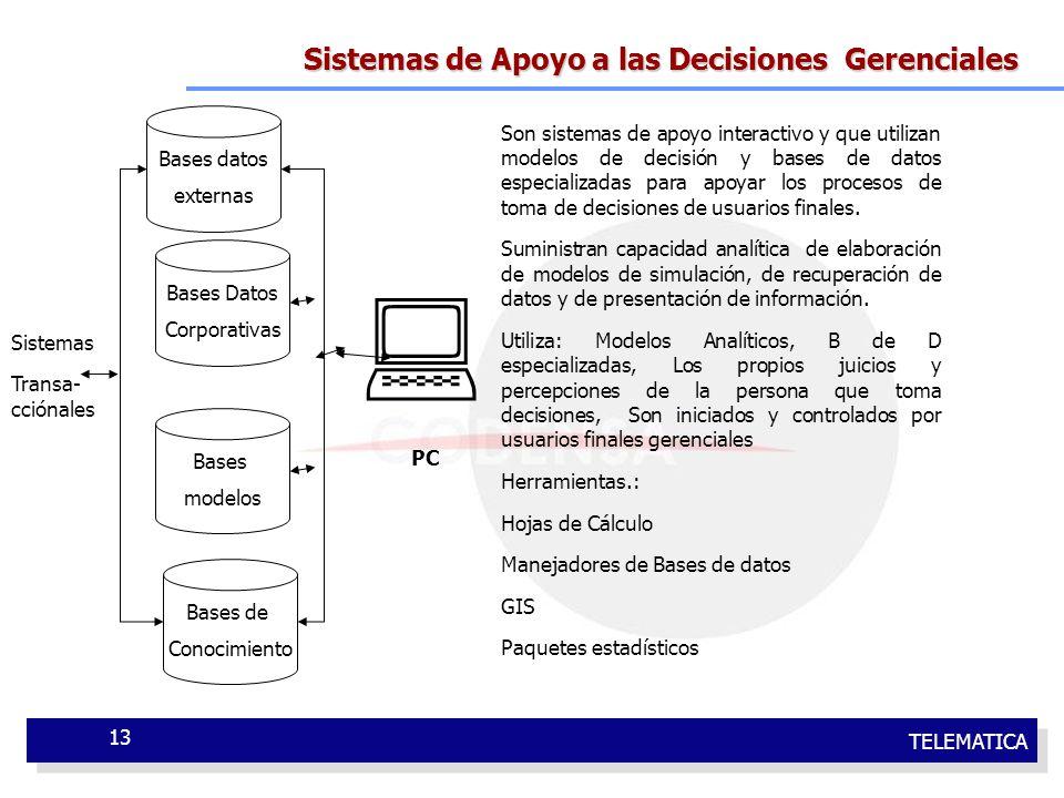  Sistemas de Apoyo a las Decisiones Gerenciales Bases datos externas