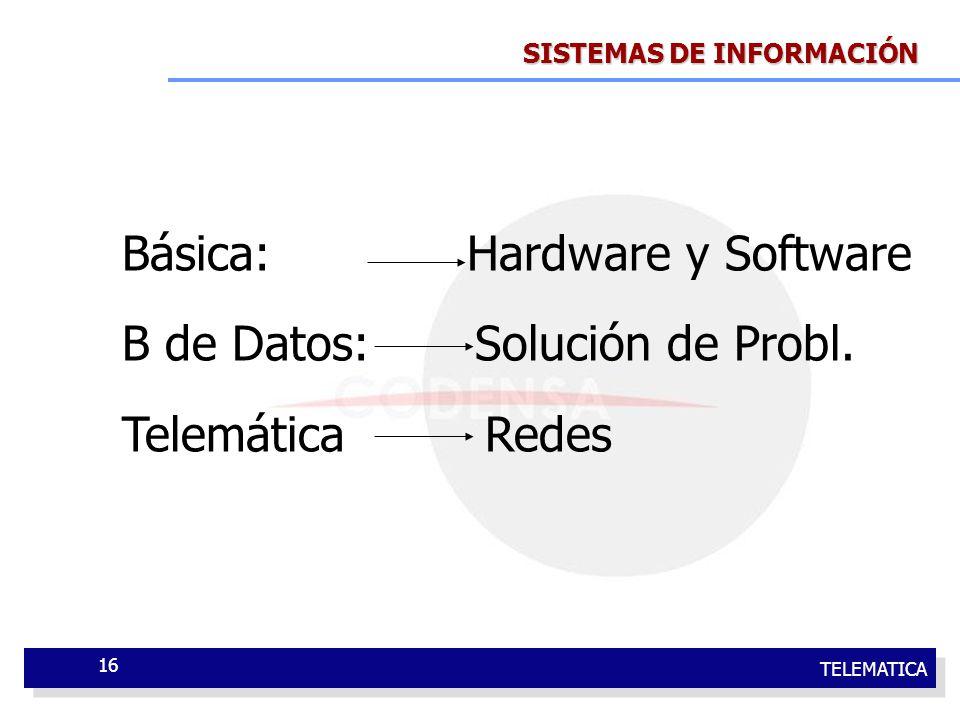 Básica: Hardware y Software B de Datos: Solución de Probl.