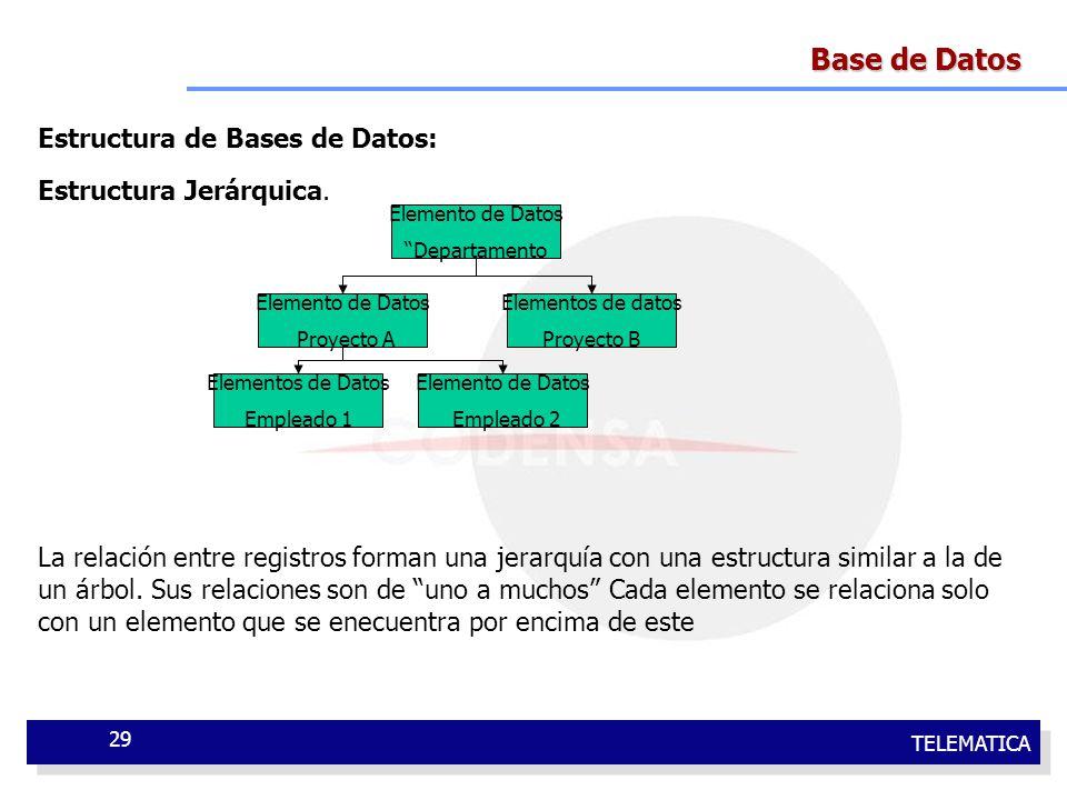 Base de Datos Estructura de Bases de Datos: Estructura Jerárquica.