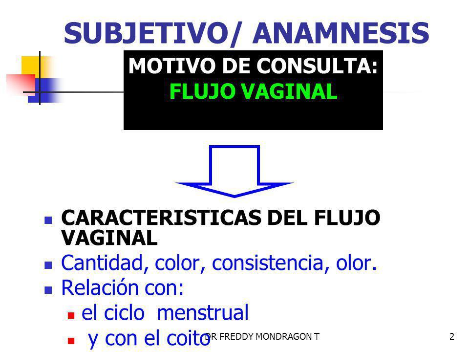 SUBJETIVO/ ANAMNESIS MOTIVO DE CONSULTA: FLUJO VAGINAL