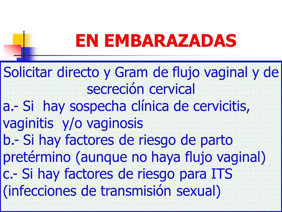 Solicitar directo y Gram de flujo vaginal y de secreción cervical