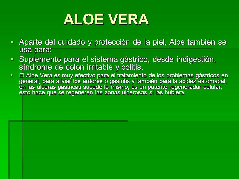 ALOE VERA Aparte del cuidado y protección de la piel, Aloe también se usa para: