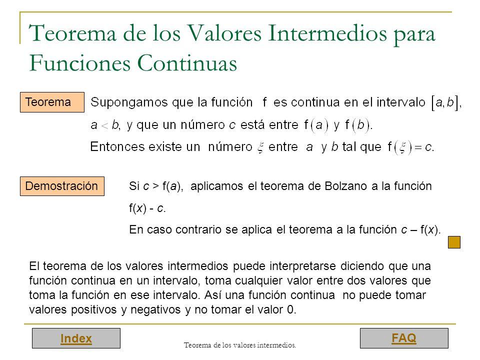 Teorema de los Valores Intermedios para Funciones Continuas