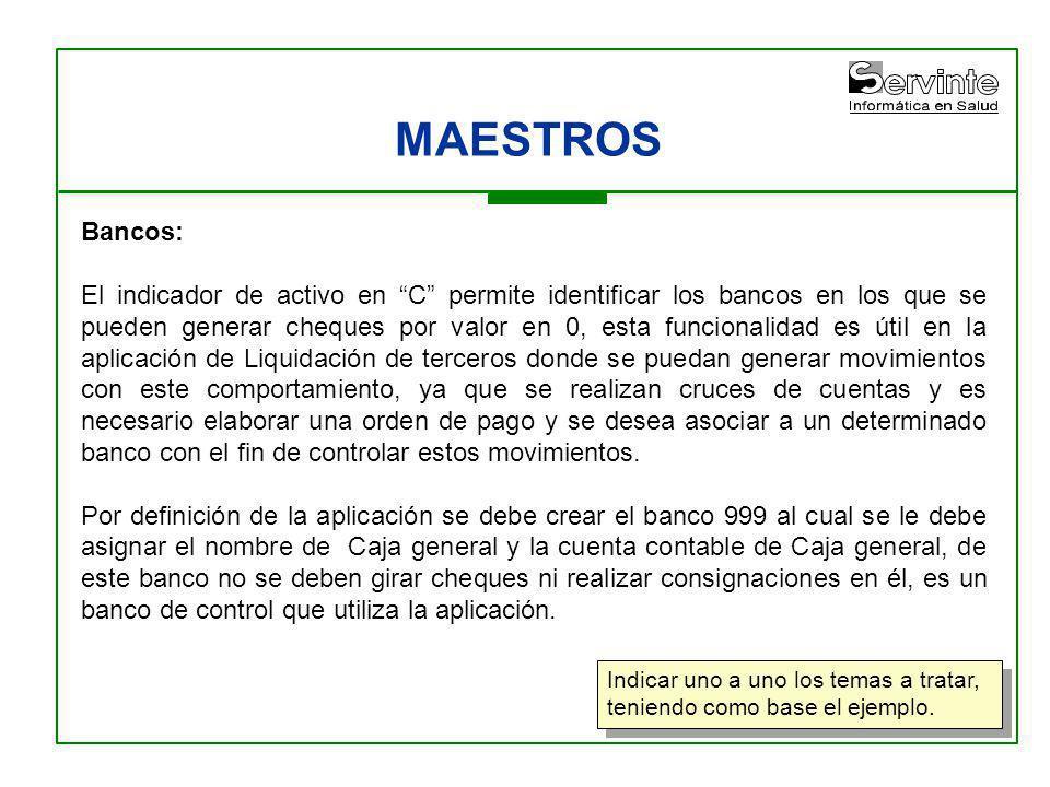 MAESTROS Bancos: