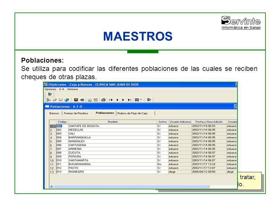 MAESTROS Poblaciones:
