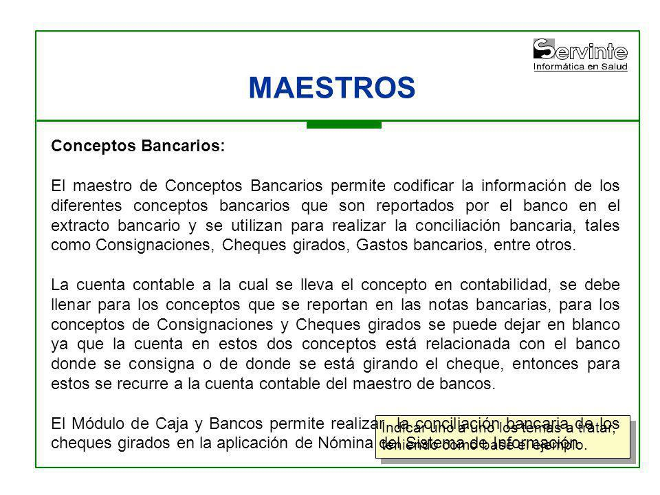 MAESTROS Conceptos Bancarios: