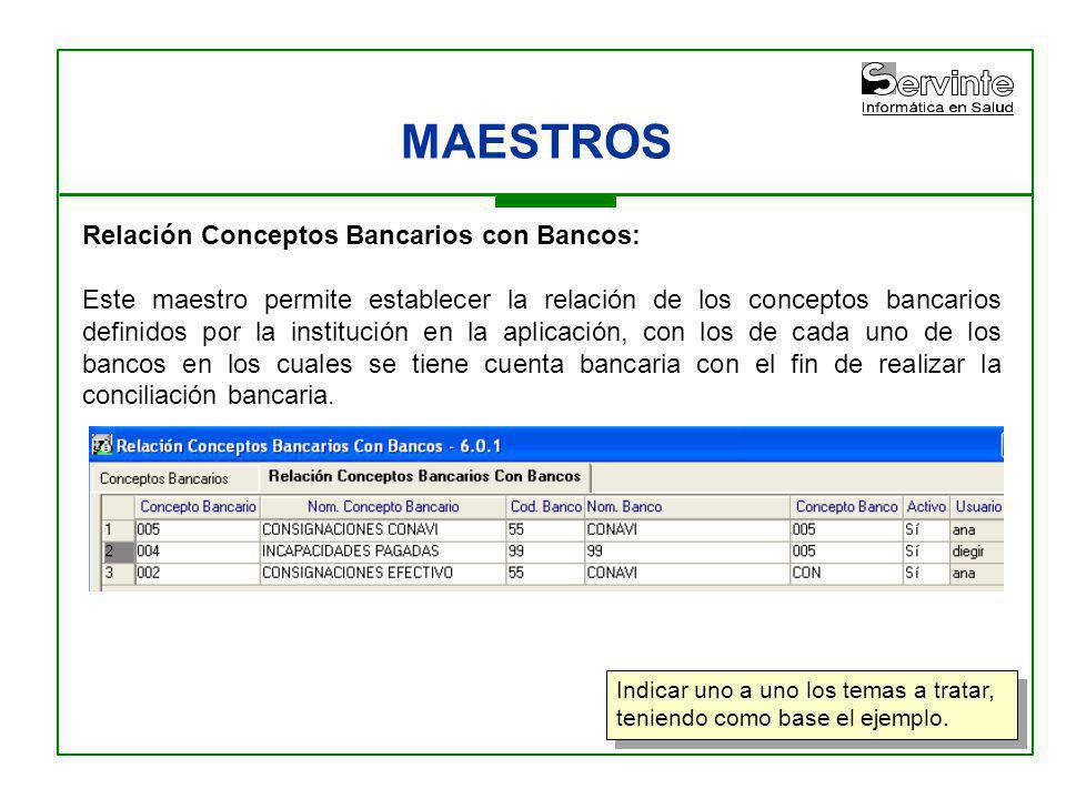 MAESTROS Relación Conceptos Bancarios con Bancos: