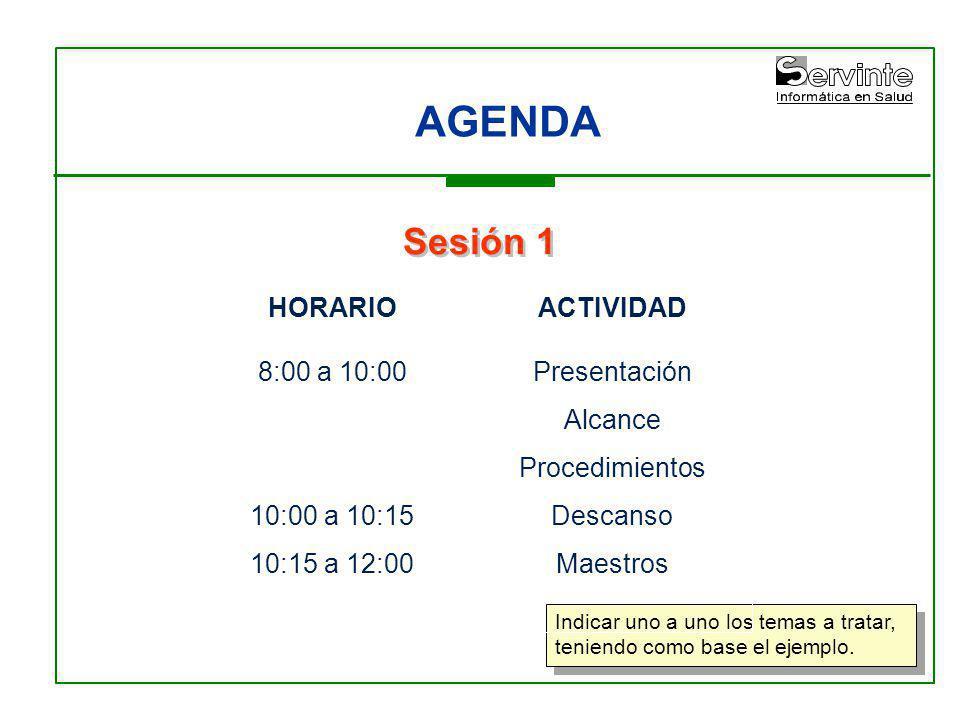 AGENDA Sesión 1 HORARIO 8:00 a 10:00 10:00 a 10:15 10:15 a 12:00