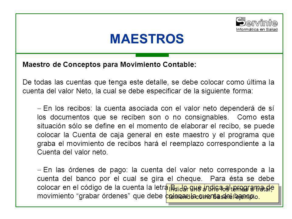 MAESTROS Maestro de Conceptos para Movimiento Contable: