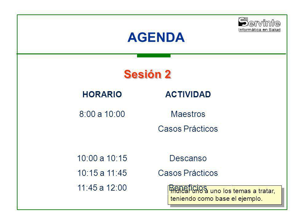 AGENDA Sesión 2 HORARIO 8:00 a 10:00 10:00 a 10:15 10:15 a 11:45