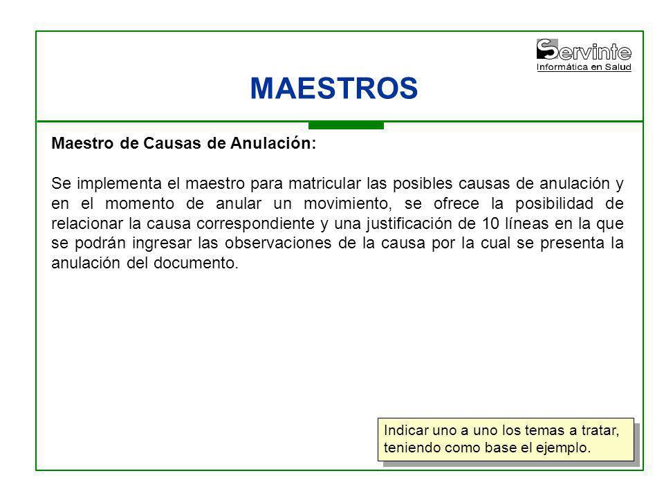 MAESTROS Maestro de Causas de Anulación: