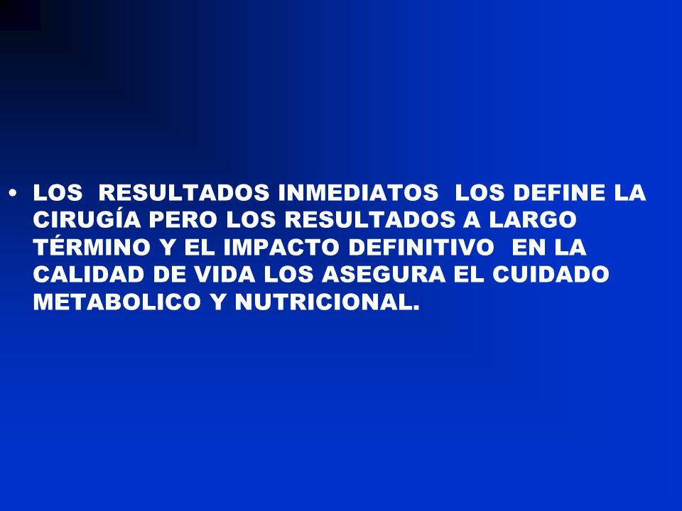 LOS RESULTADOS INMEDIATOS LOS DEFINE LA CIRUGÍA PERO LOS RESULTADOS A LARGO TÉRMINO Y EL IMPACTO DEFINITIVO EN LA CALIDAD DE VIDA LOS ASEGURA EL CUIDADO METABOLICO Y NUTRICIONAL.