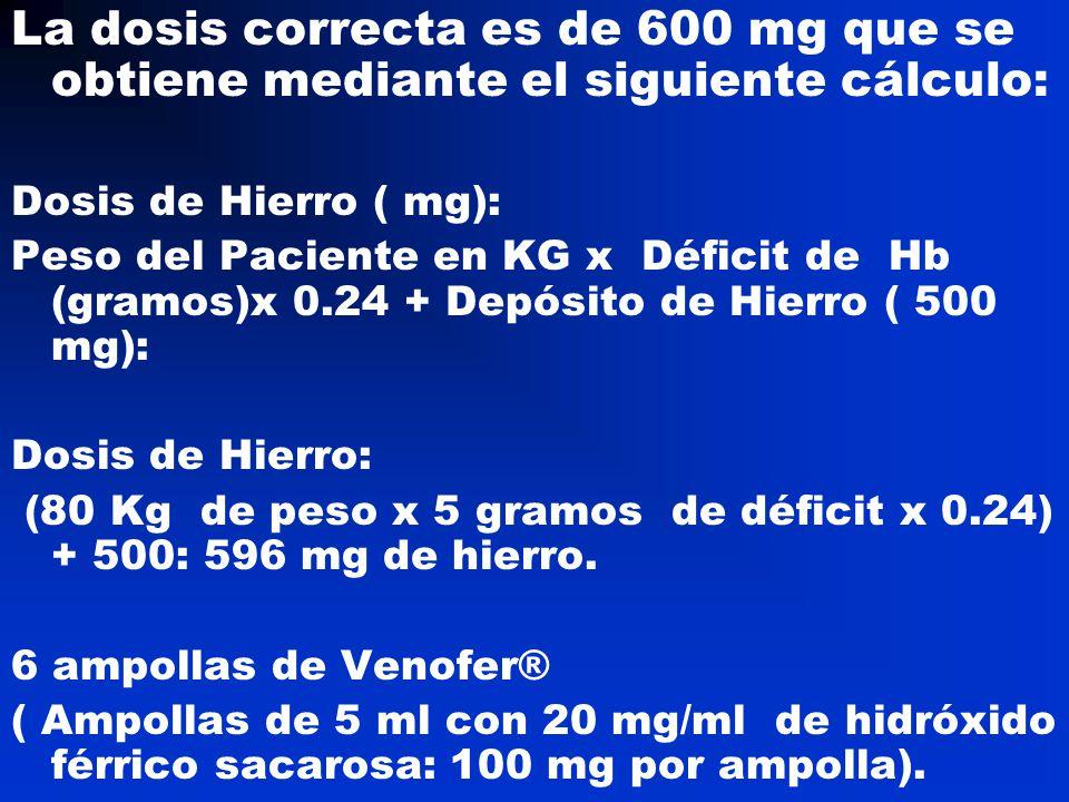 La dosis correcta es de 600 mg que se obtiene mediante el siguiente cálculo:
