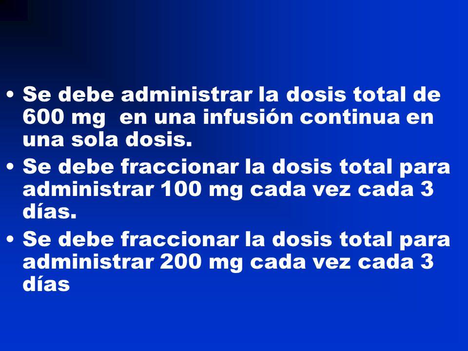 Se debe administrar la dosis total de 600 mg en una infusión continua en una sola dosis.