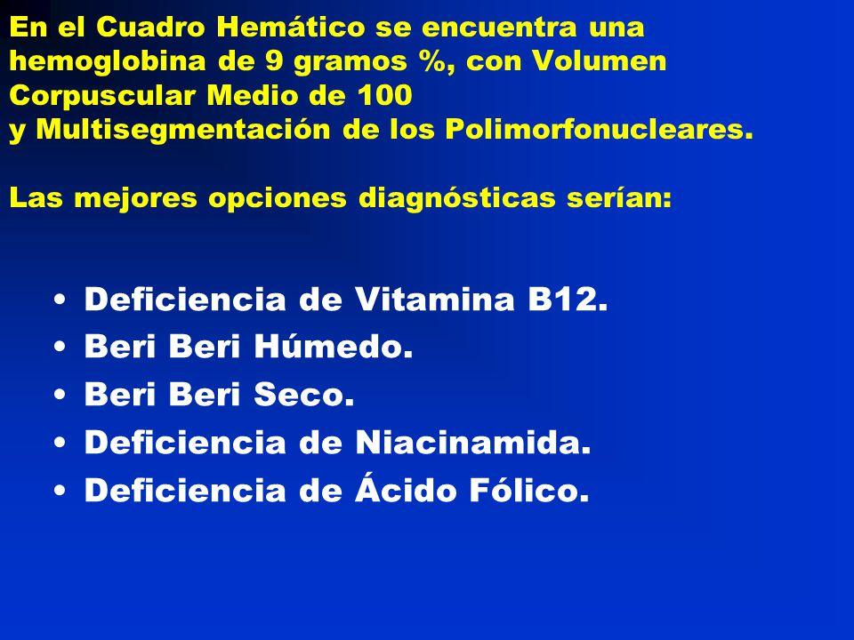 Deficiencia de Vitamina B12. Beri Beri Húmedo. Beri Beri Seco.