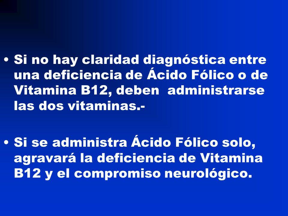 Si no hay claridad diagnóstica entre una deficiencia de Ácido Fólico o de Vitamina B12, deben administrarse las dos vitaminas.-