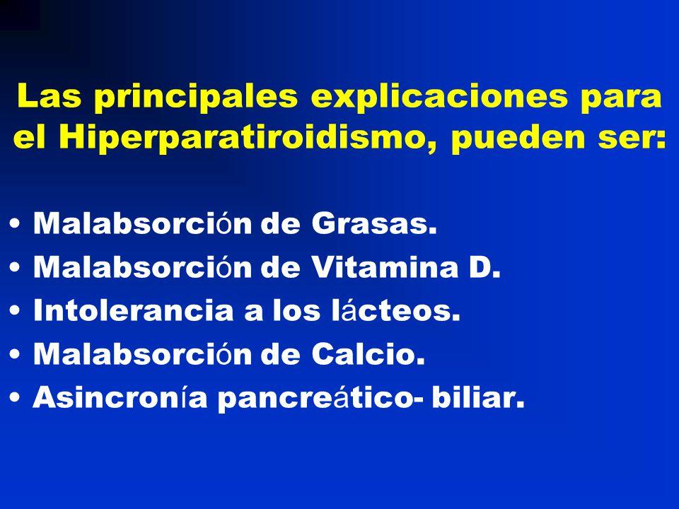 Las principales explicaciones para el Hiperparatiroidismo, pueden ser:
