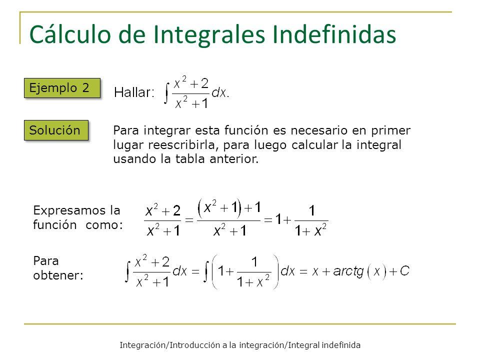 Cálculo de Integrales Indefinidas