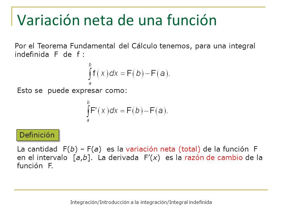 Variación neta de una función
