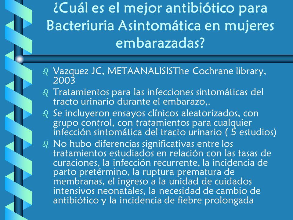 ¿Cuál es el mejor antibiótico para Bacteriuria Asintomática en mujeres embarazadas