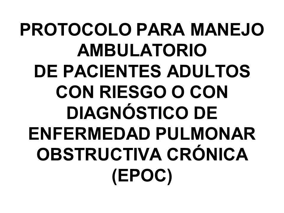 PROTOCOLO PARA MANEJO AMBULATORIO DE PACIENTES ADULTOS CON RIESGO O CON DIAGNÓSTICO DE ENFERMEDAD PULMONAR OBSTRUCTIVA CRÓNICA (EPOC)