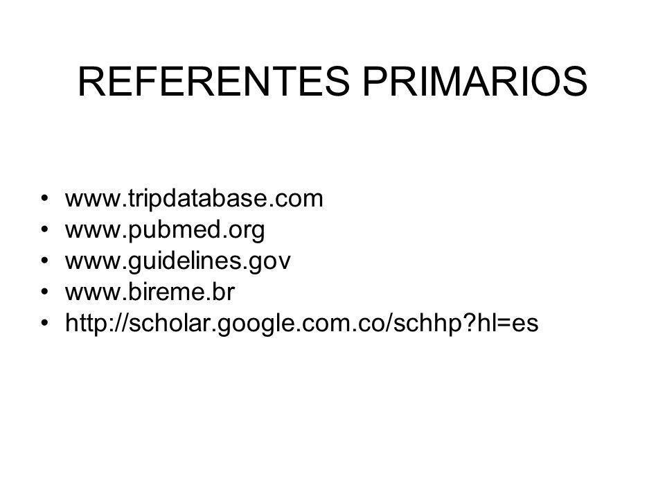 REFERENTES PRIMARIOS www.tripdatabase.com www.pubmed.org