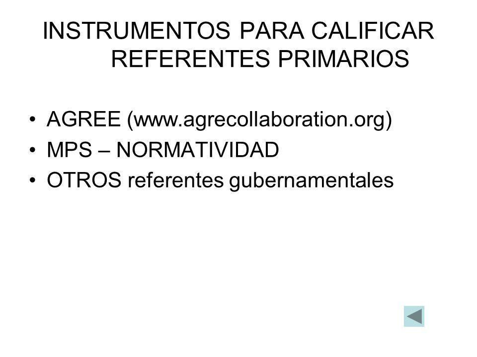 INSTRUMENTOS PARA CALIFICAR REFERENTES PRIMARIOS
