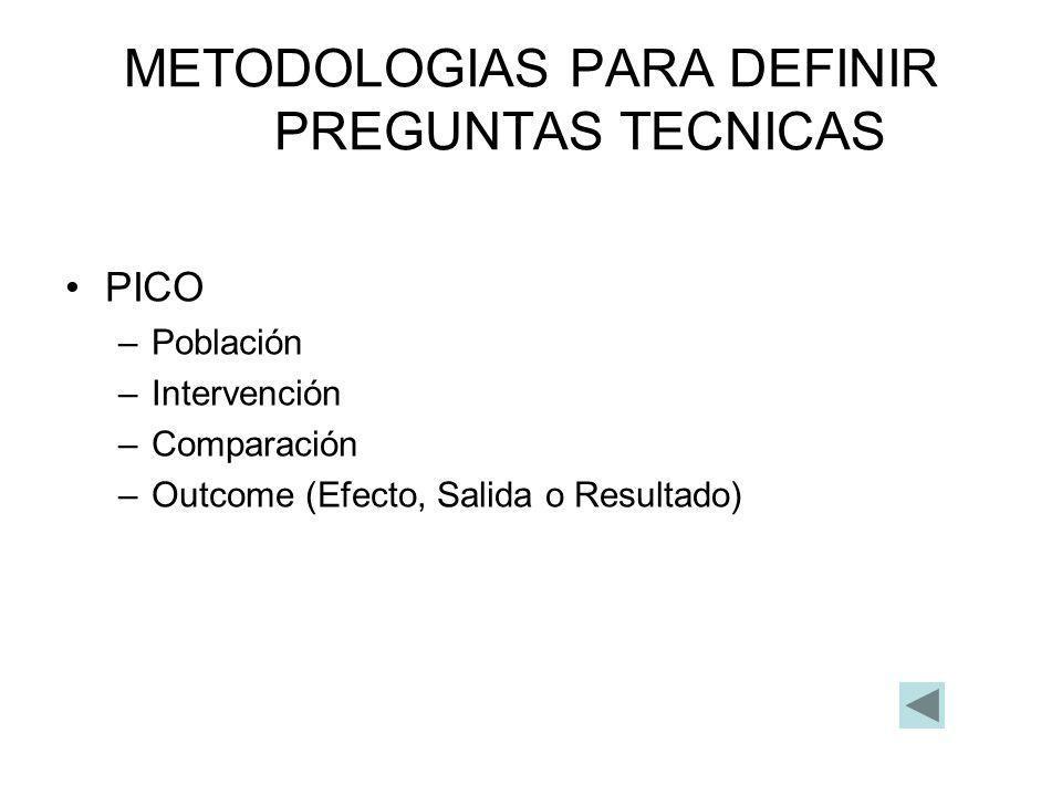 METODOLOGIAS PARA DEFINIR PREGUNTAS TECNICAS