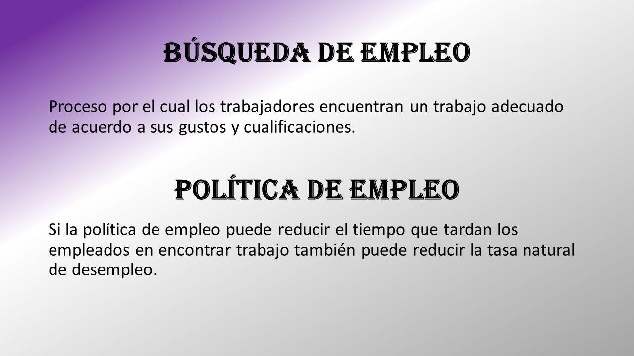 BÚSQUEDA DE EMPLEO Política de Empleo