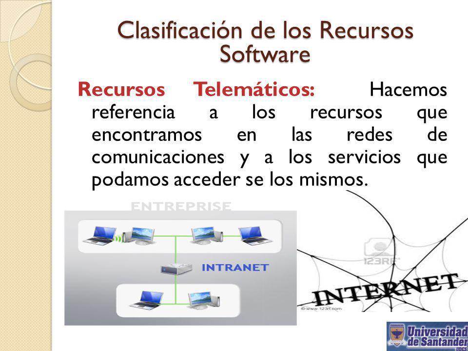 Clasificación de los Recursos Software