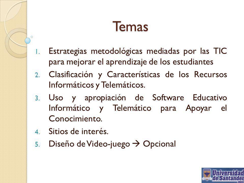 Temas Estrategias metodológicas mediadas por las TIC para mejorar el aprendizaje de los estudiantes.