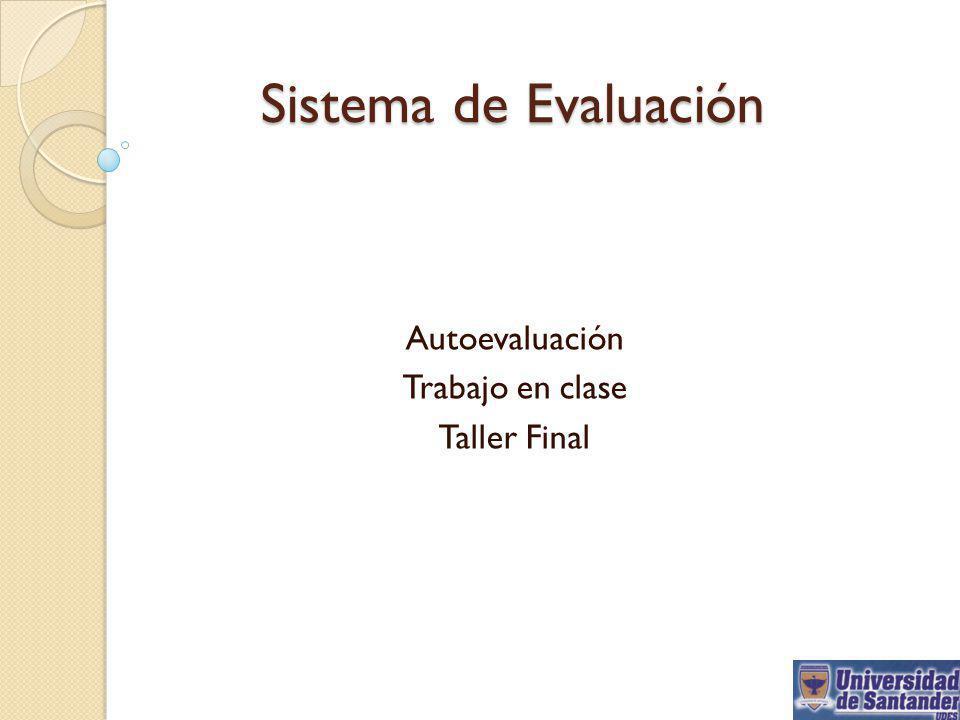 Autoevaluación Trabajo en clase Taller Final