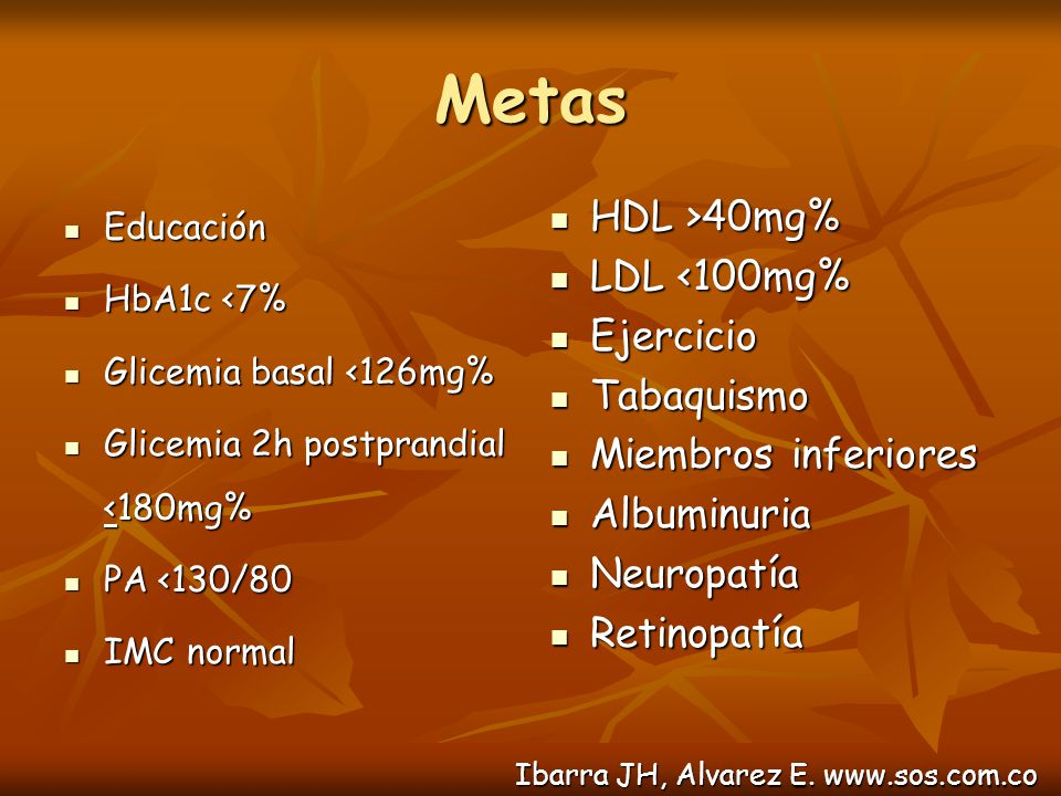 Metas HDL >40mg% LDL <100mg% Ejercicio Tabaquismo