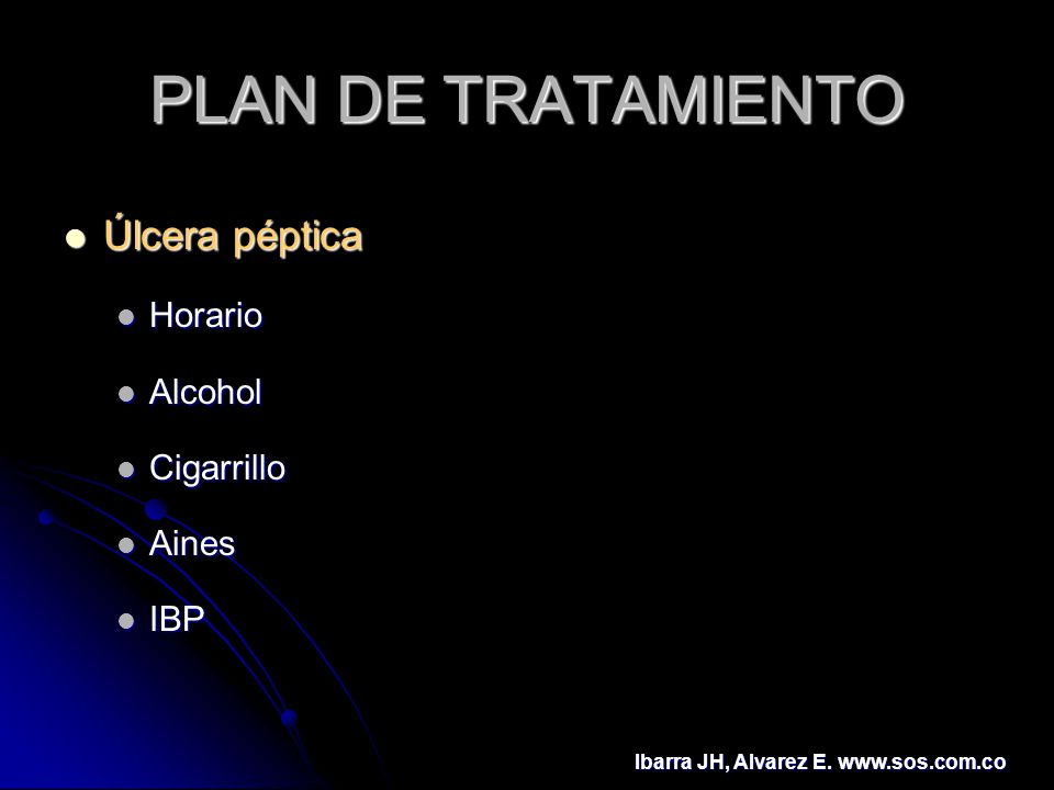 PLAN DE TRATAMIENTO Úlcera péptica Horario Alcohol Cigarrillo Aines