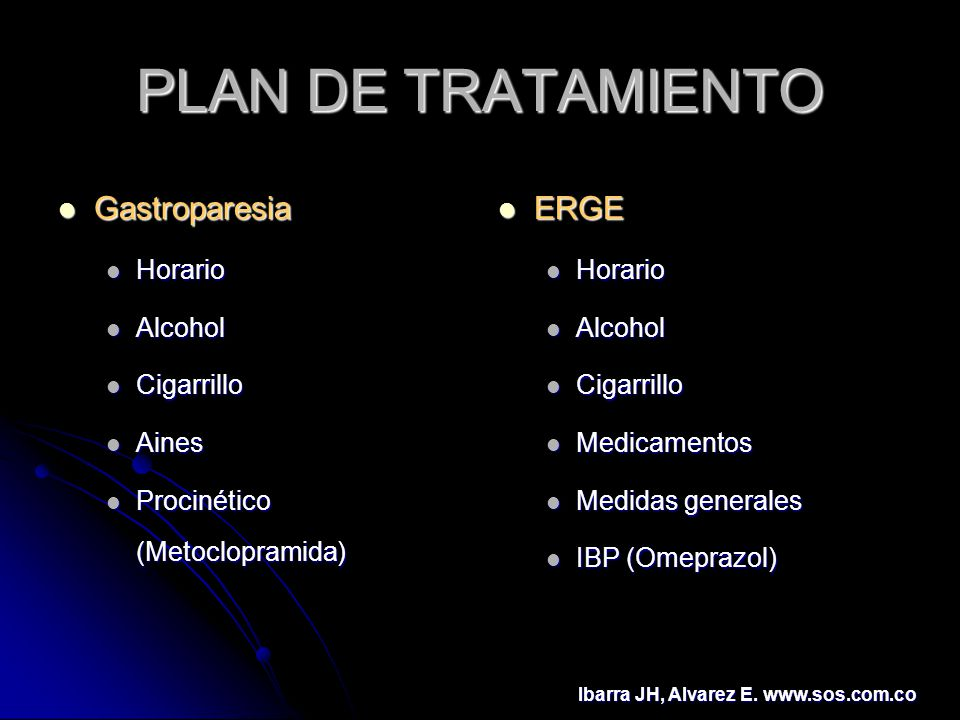 PLAN DE TRATAMIENTO Gastroparesia ERGE Horario Alcohol Cigarrillo