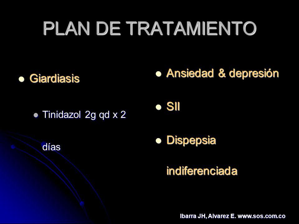 PLAN DE TRATAMIENTO Giardiasis Ansiedad & depresión SII