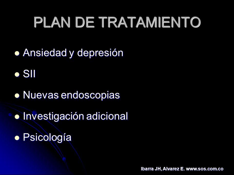 PLAN DE TRATAMIENTO Ansiedad y depresión SII Nuevas endoscopias