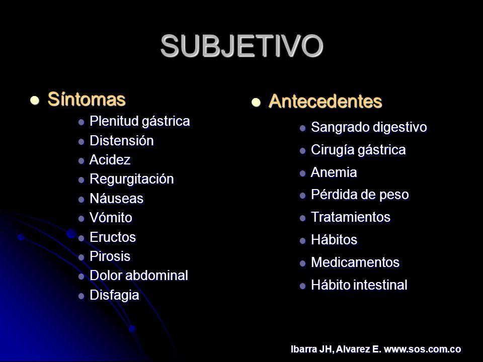 SUBJETIVO Síntomas Antecedentes Plenitud gástrica Sangrado digestivo