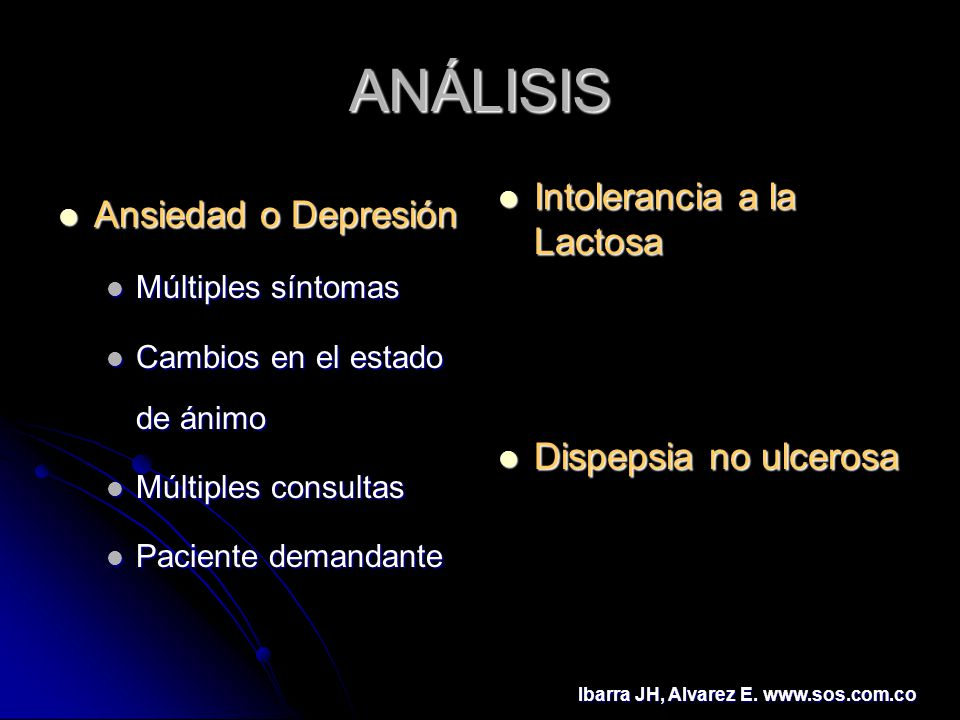 ANÁLISIS Ansiedad o Depresión Intolerancia a la Lactosa
