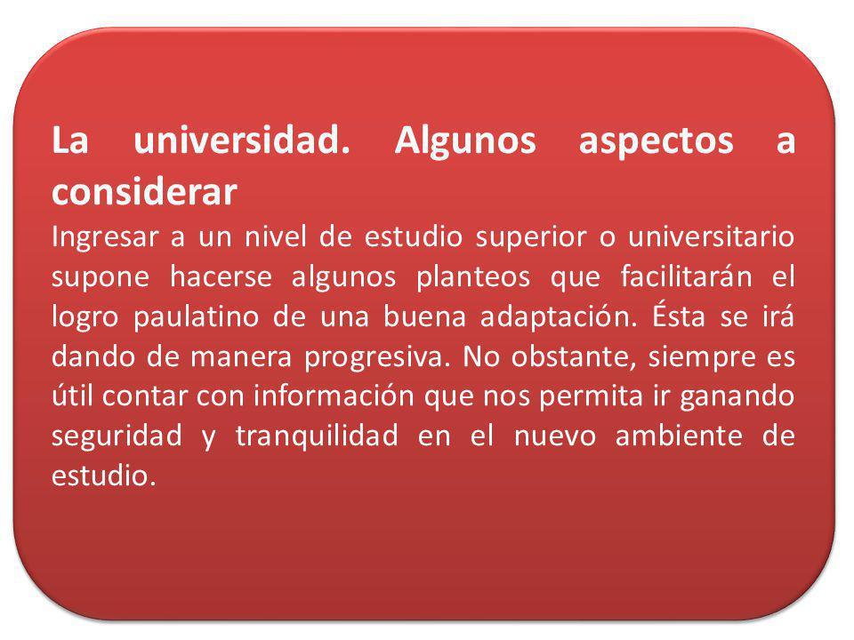 La universidad. Algunos aspectos a considerar
