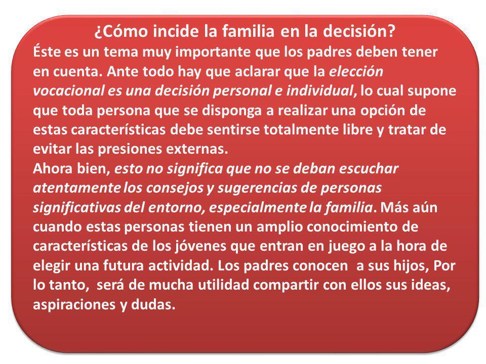 ¿Cómo incide la familia en la decisión
