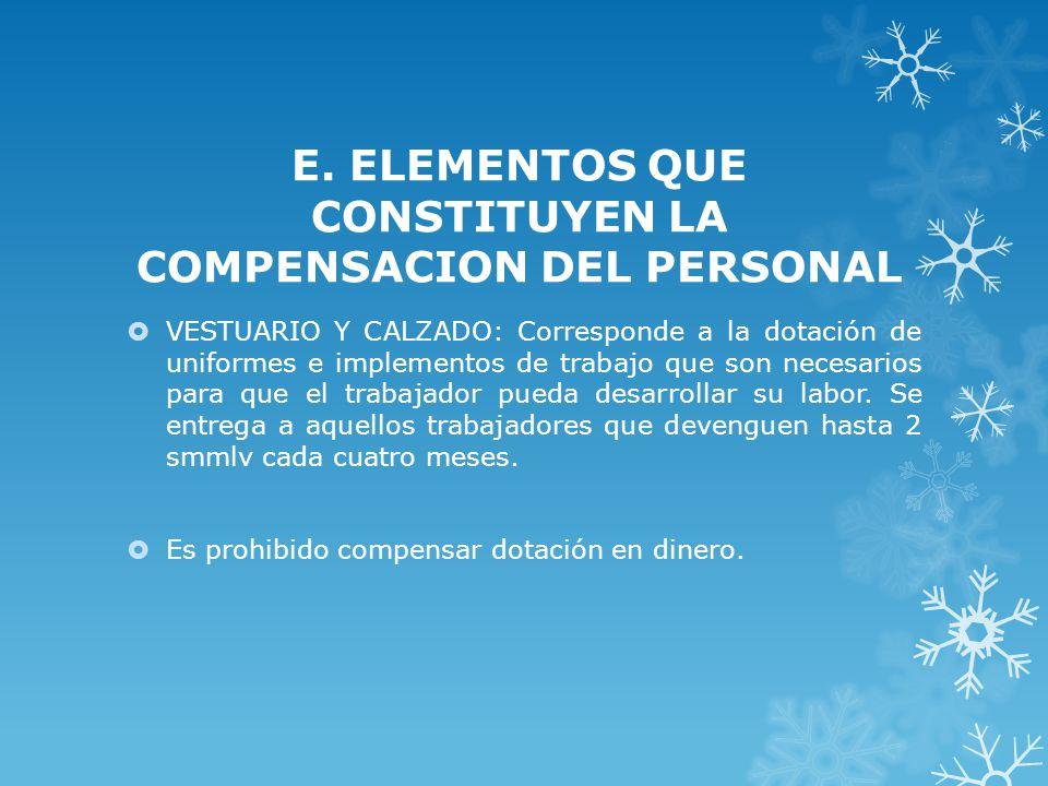 E. ELEMENTOS QUE CONSTITUYEN LA COMPENSACION DEL PERSONAL