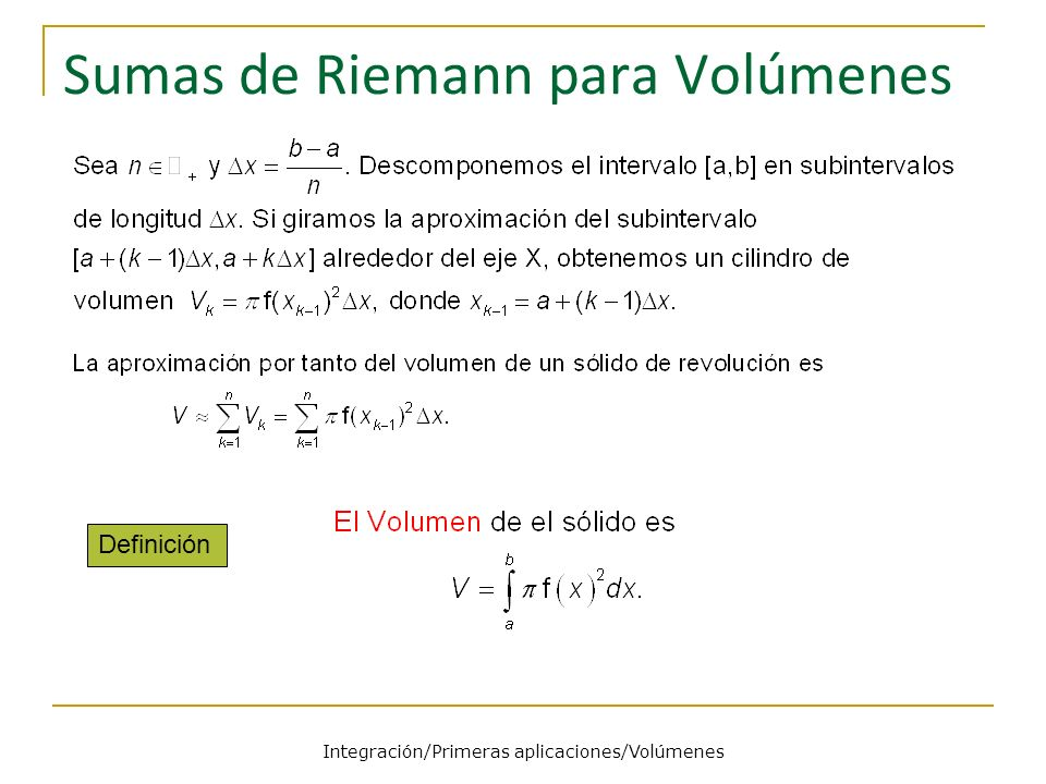 Sumas de Riemann para Volúmenes