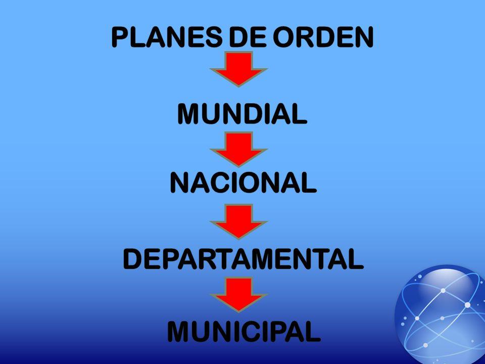PLANES DE ORDEN MUNDIAL NACIONAL DEPARTAMENTAL MUNICIPAL