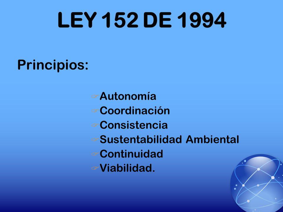 LEY 152 DE 1994 Principios: Autonomía Coordinación Consistencia